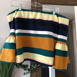 Zara Off the Shoulder Striped Blouse